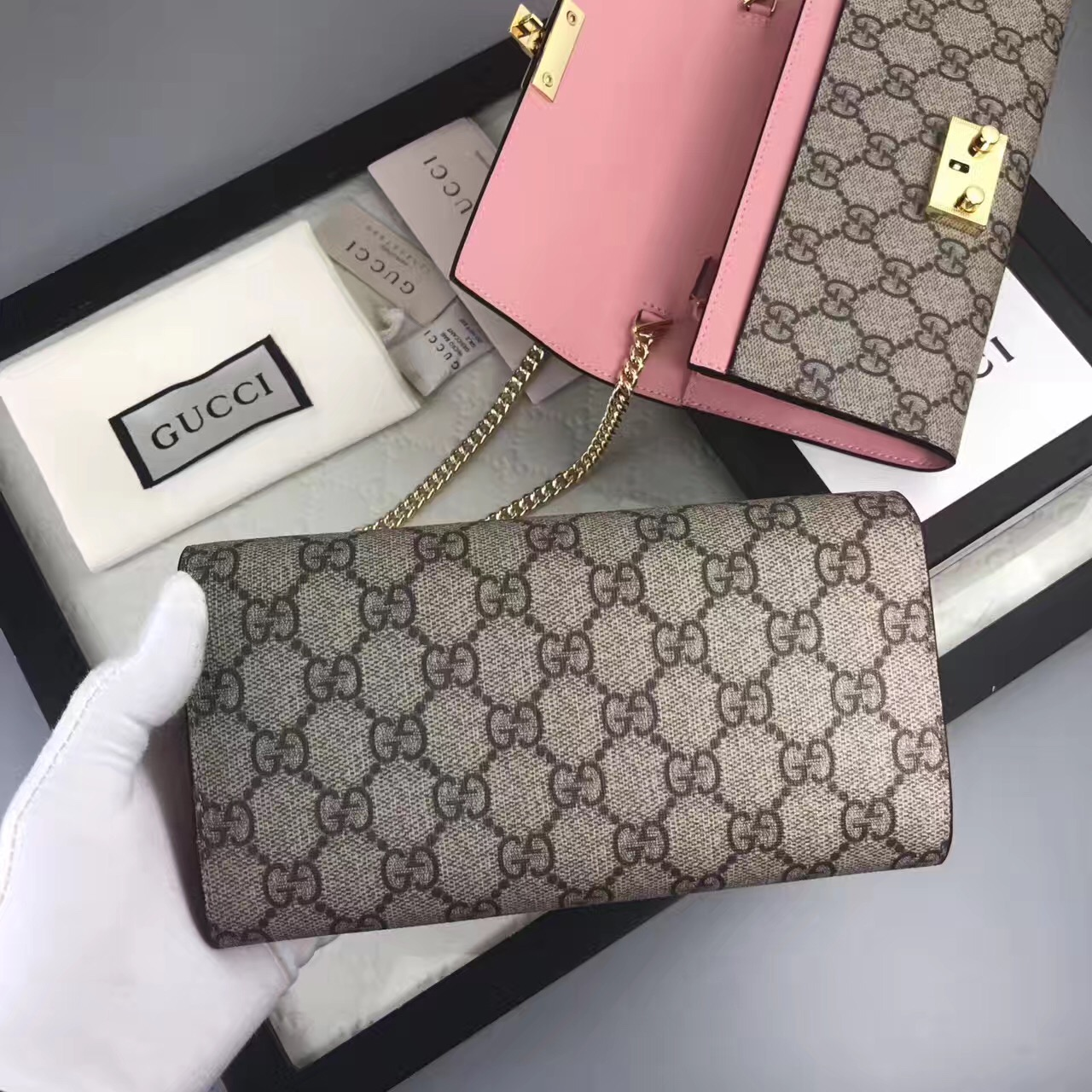 2aae797ce84 Gucci GG woc pink gray with shoulder wallet handbags  GG309 ...