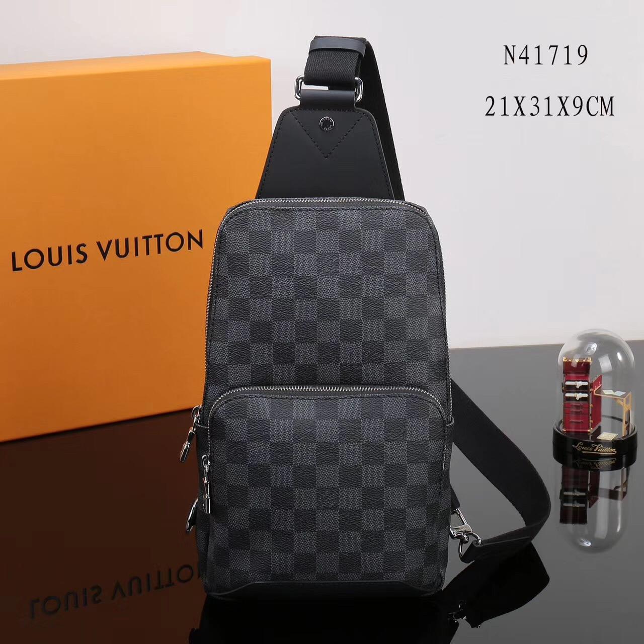 a96743254b76 Men LV Louis Vuitton Avenue Shoulder Damier bags N41719 Graphite Handbags