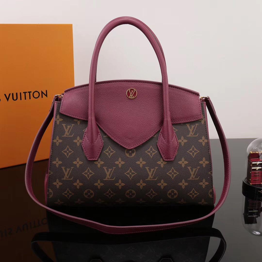 64d4f1285de5 LV Louis Vuitton Monogram Brittany Leather Handbags M42271 bags Maroon