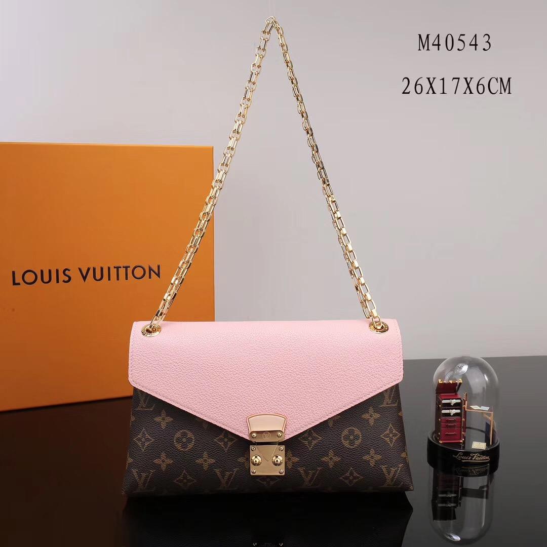 LV Louis Vuitton Pallas Chain Handbags Leather M40543 Monogram bags Pink ... 714a7b68ccd9a