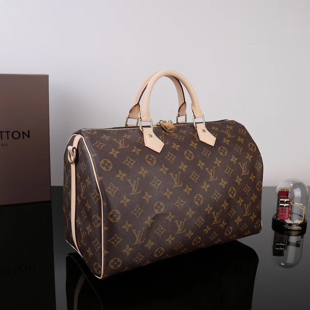 153398cf2a5f ... LV Louis Vuitton Speedy 35 Monogram bags M41111 Handbags Brown ...