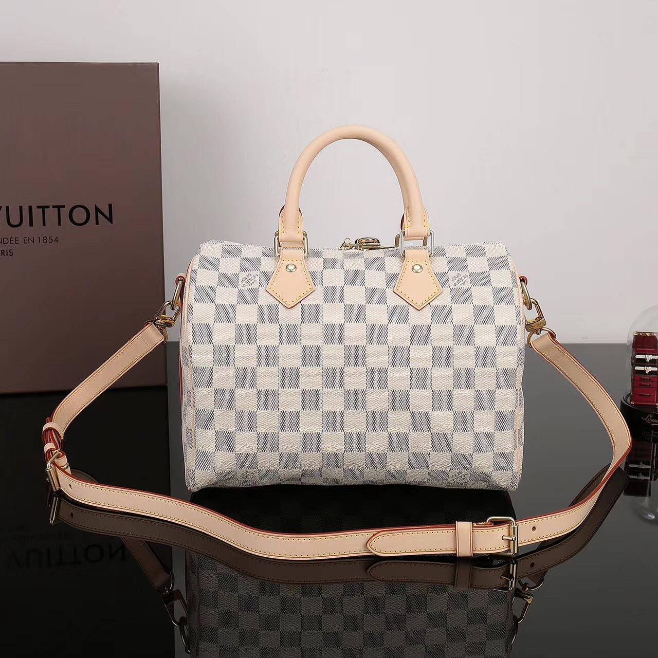 b905fec16850d LV Louis Vuitton Speedy 25 Damier bags N41374 Handbags White  LV1147 ...