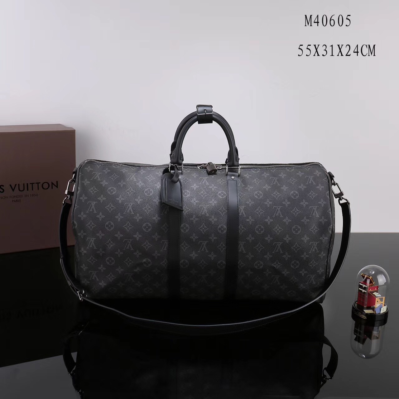 e2337d211335 Men LV Louis Vuitton M40605 Keepall 55 Travelling Handbags Monogram bags  Gray ...