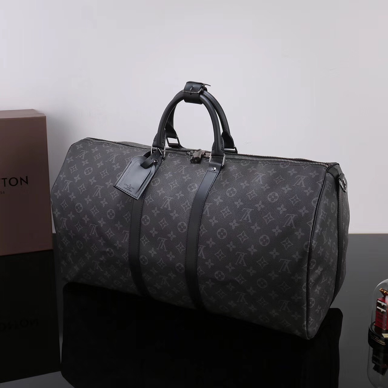 ad3f352c47bf ... Men LV Louis Vuitton M40605 Keepall 55 Travelling Handbags Monogram bags  Gray ...